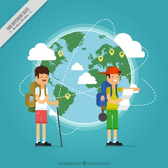 Flat background with happy tourists and world map