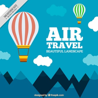 Flat background with hot air balloons