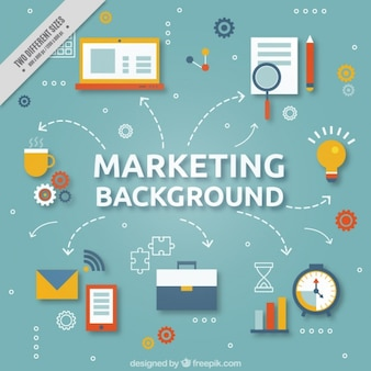 Flat background with marketing strategy