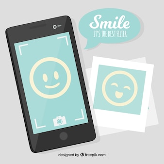 Flat background with mobile phone and smiling emoticons