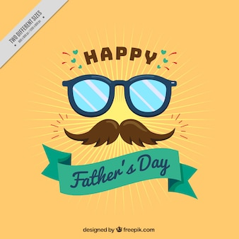 Flat background with mustache and glasses for father's day