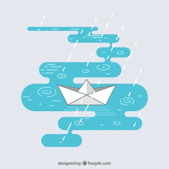 Flat background with paper boat and rain