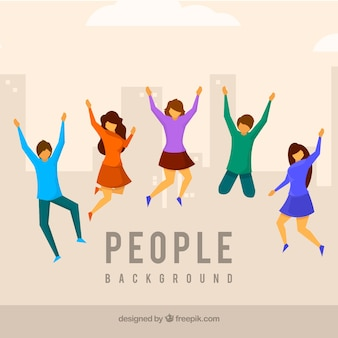 Flat background with people jumping