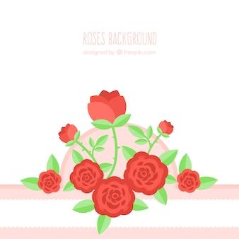 赤いバラと平らな背景