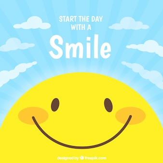 Flat background with smiley