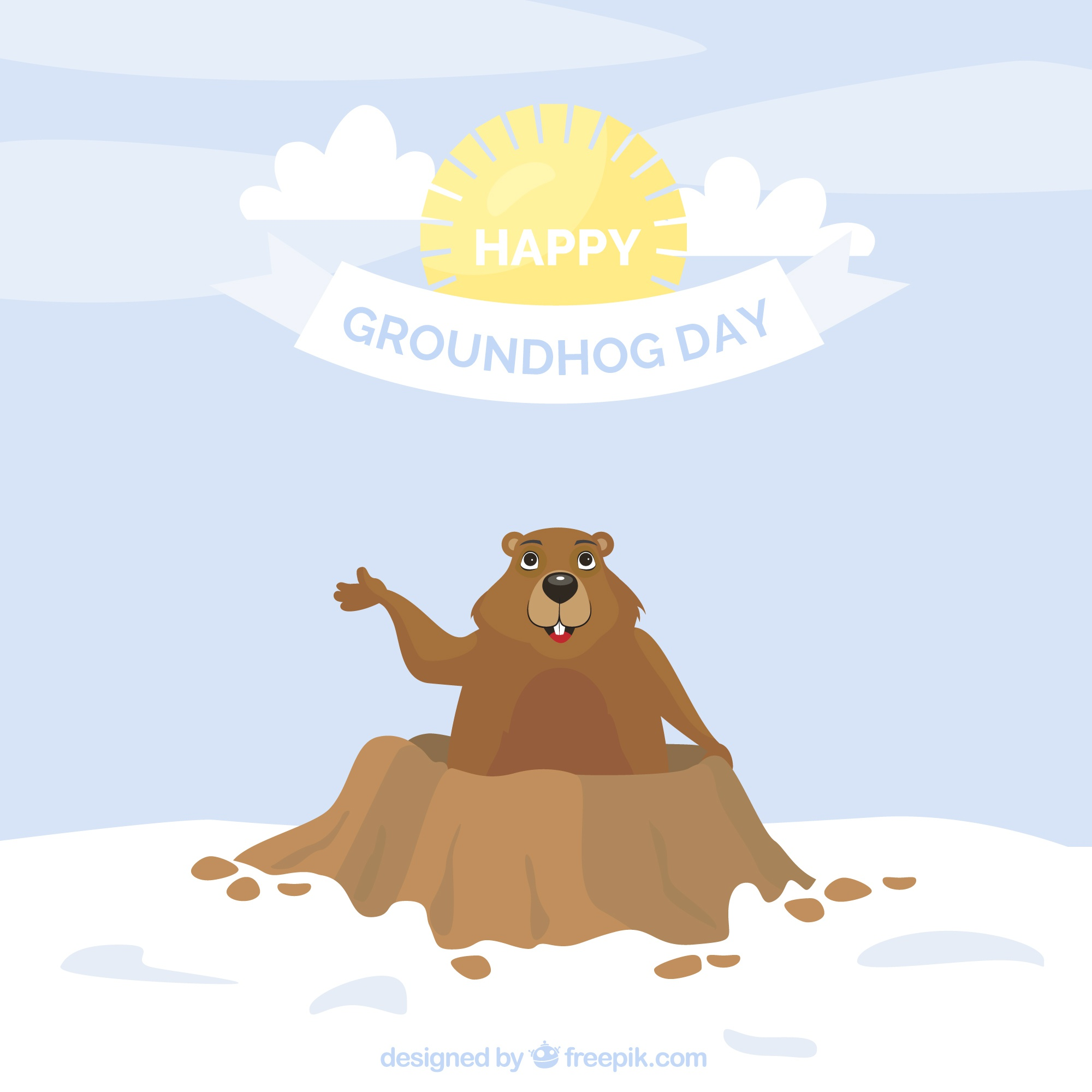 Flat background with smiling groundhog and sun