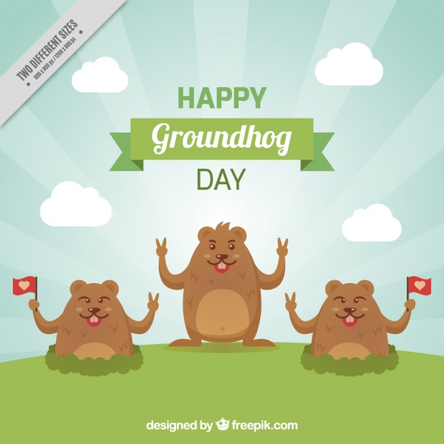 Flat background with three smiling groundhogs