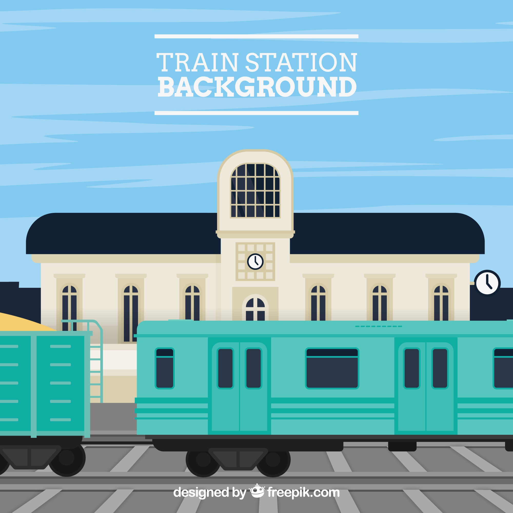 Flat background with train station and building