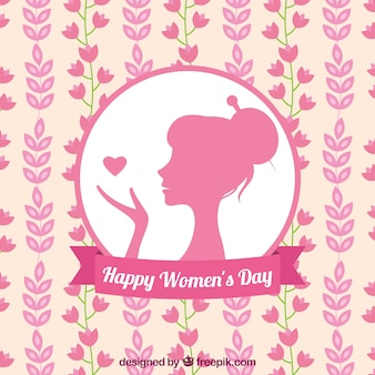 Flat background with woman silhouette and flowers