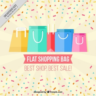 Flat bags background with colorful confetti