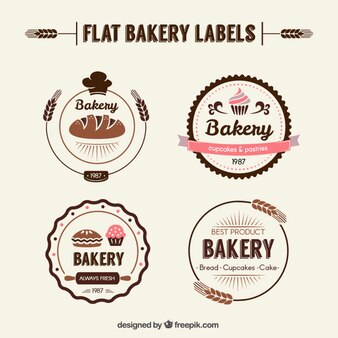 Flat bakery labels in retro style