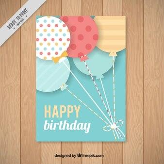Flat balloon birthday card