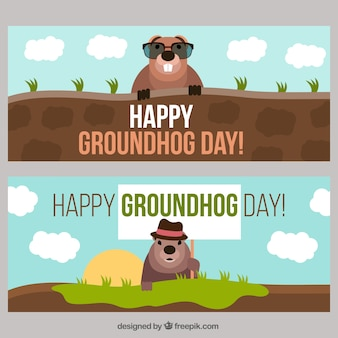 Flat banners of happy groundhog day