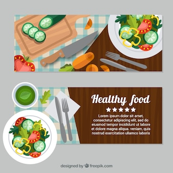 Flat banners of healthy food