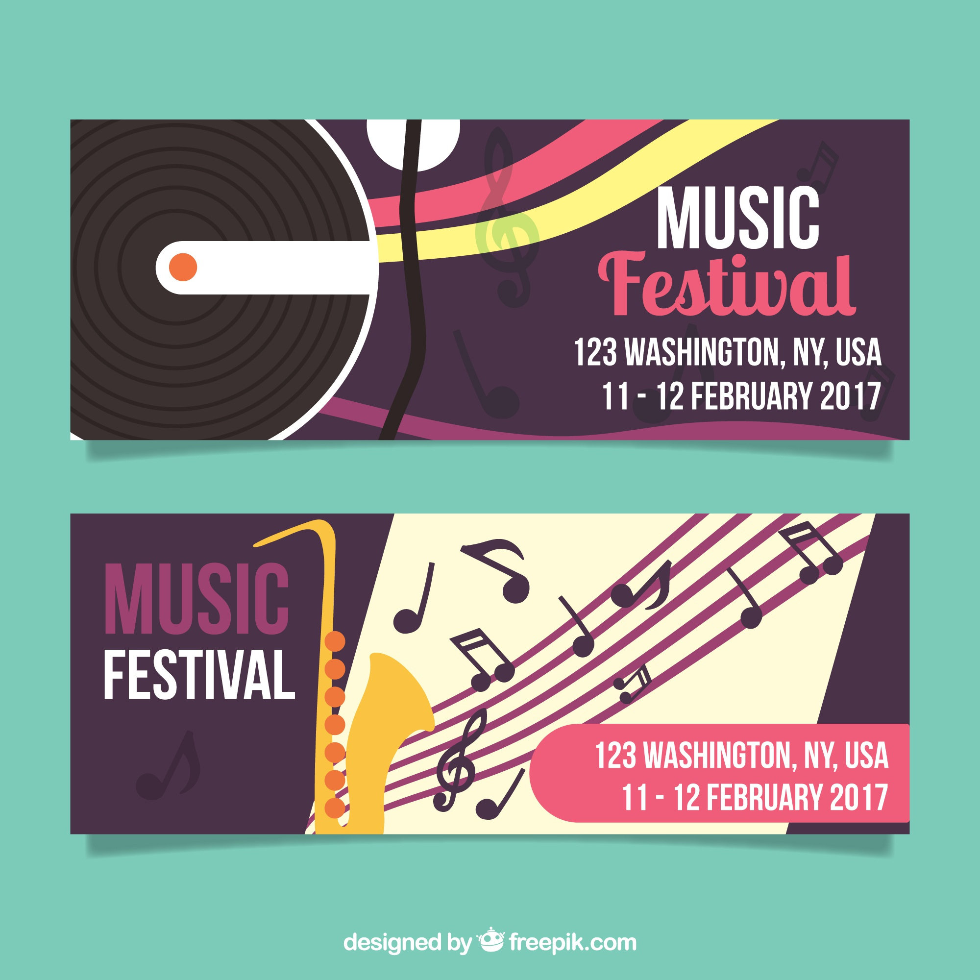 Flat banners of music festival