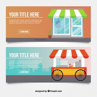 Flat banners of stores