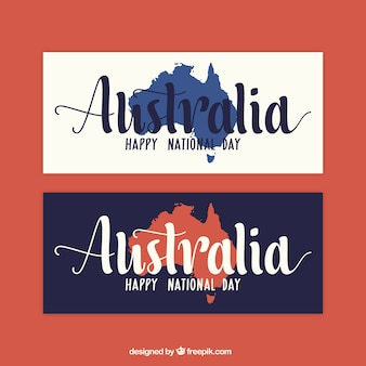 Flat banners with australia map