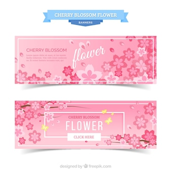 Flat banners with beautiful pink flowers and butterflies