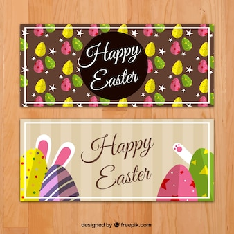 Flat banners with decorative eggs and funny rabbit for easter day