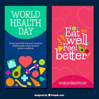 Flat banners with decorative items for world health day