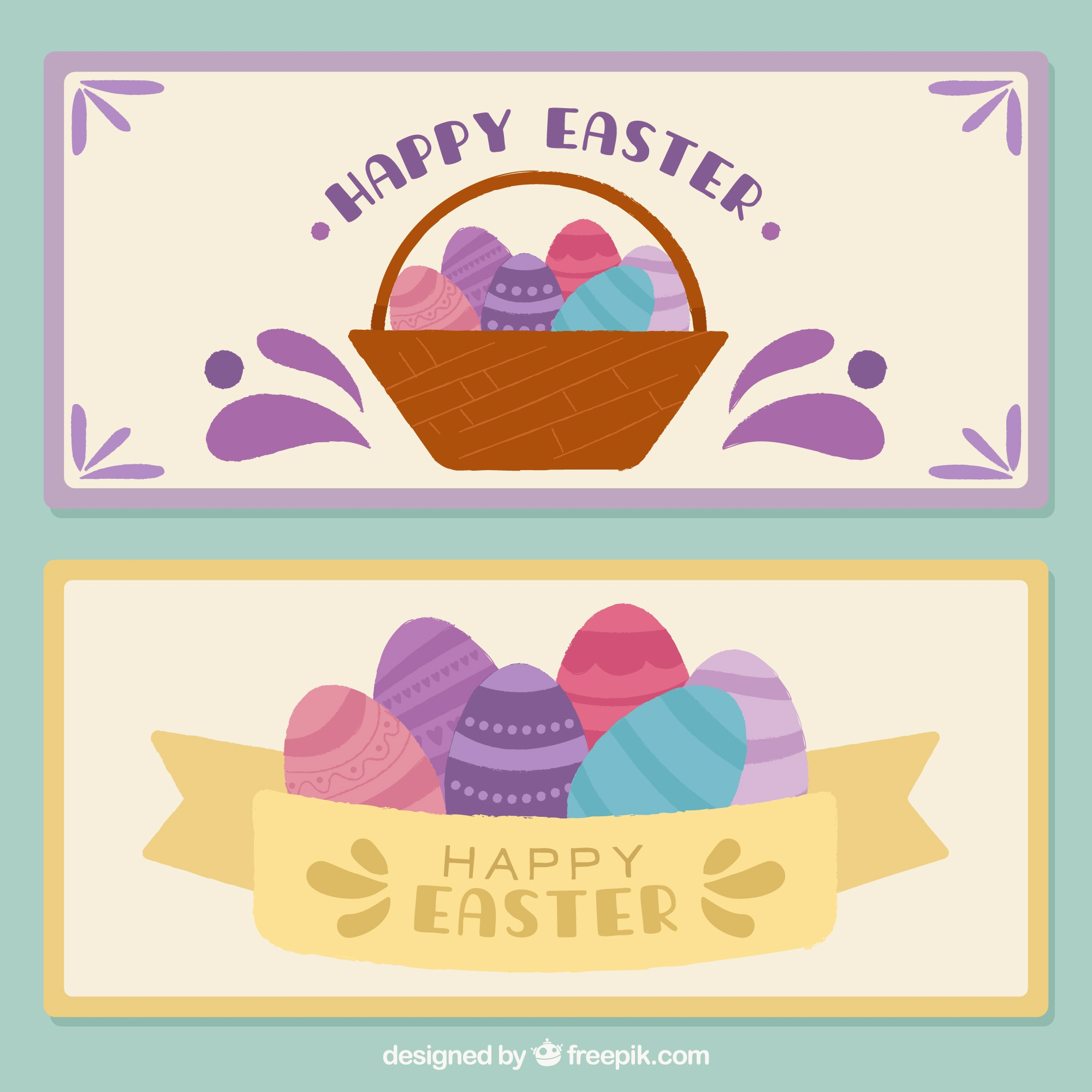 Flat banners with easter eggs