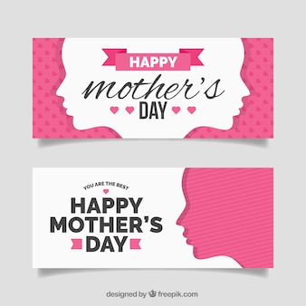 Flat banners with female silhouettes for mother's day