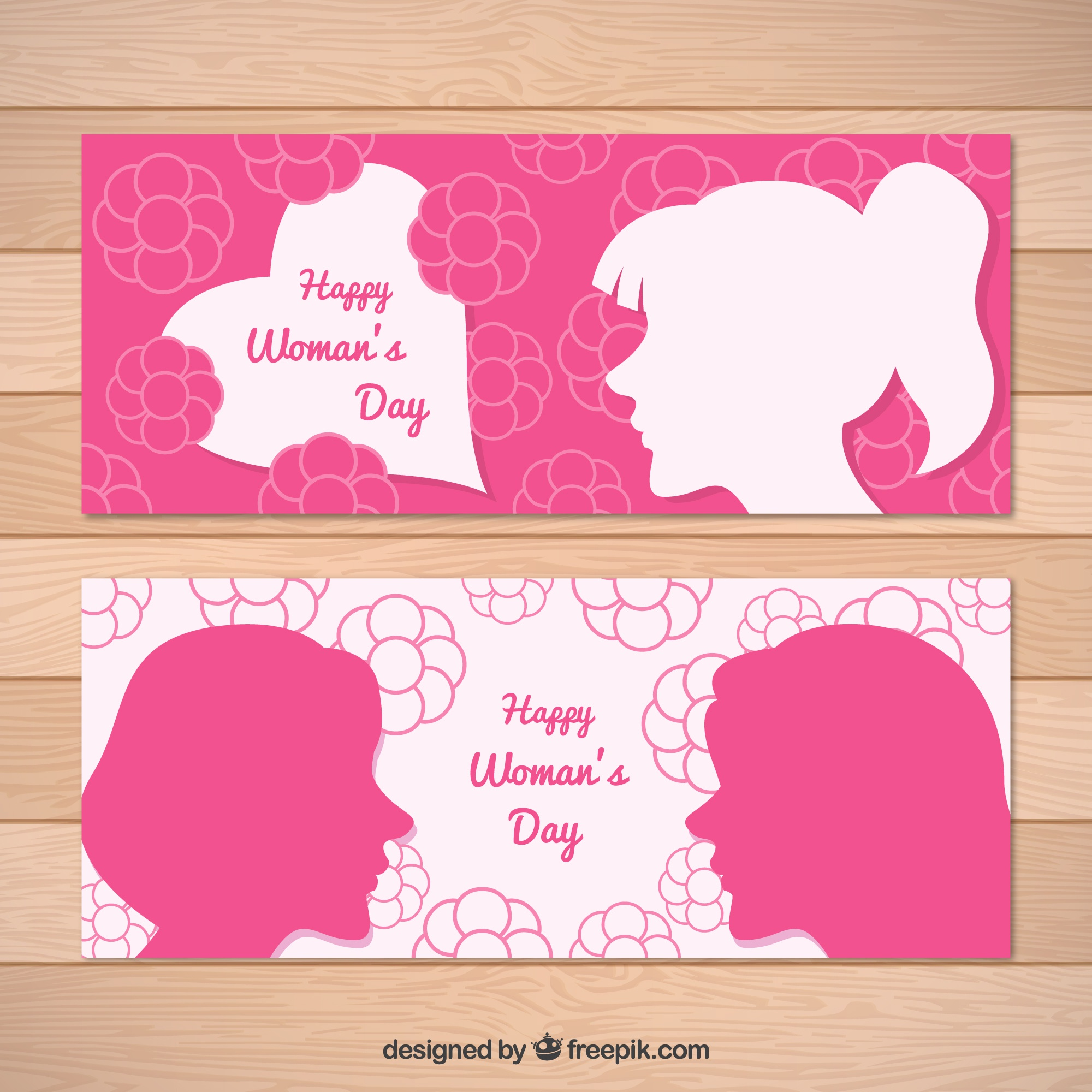 Flat banners with flowers and silhouettes for women's day