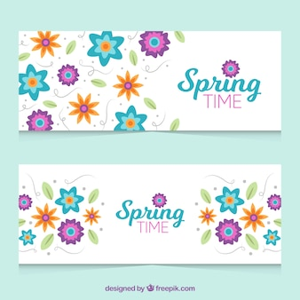 Flat banners with great spring flowers