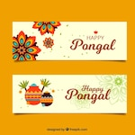 Flat banners with mandalas and decorative pots for pongal