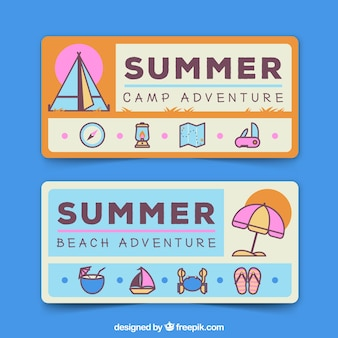 Flat banners with objects in pastel colors