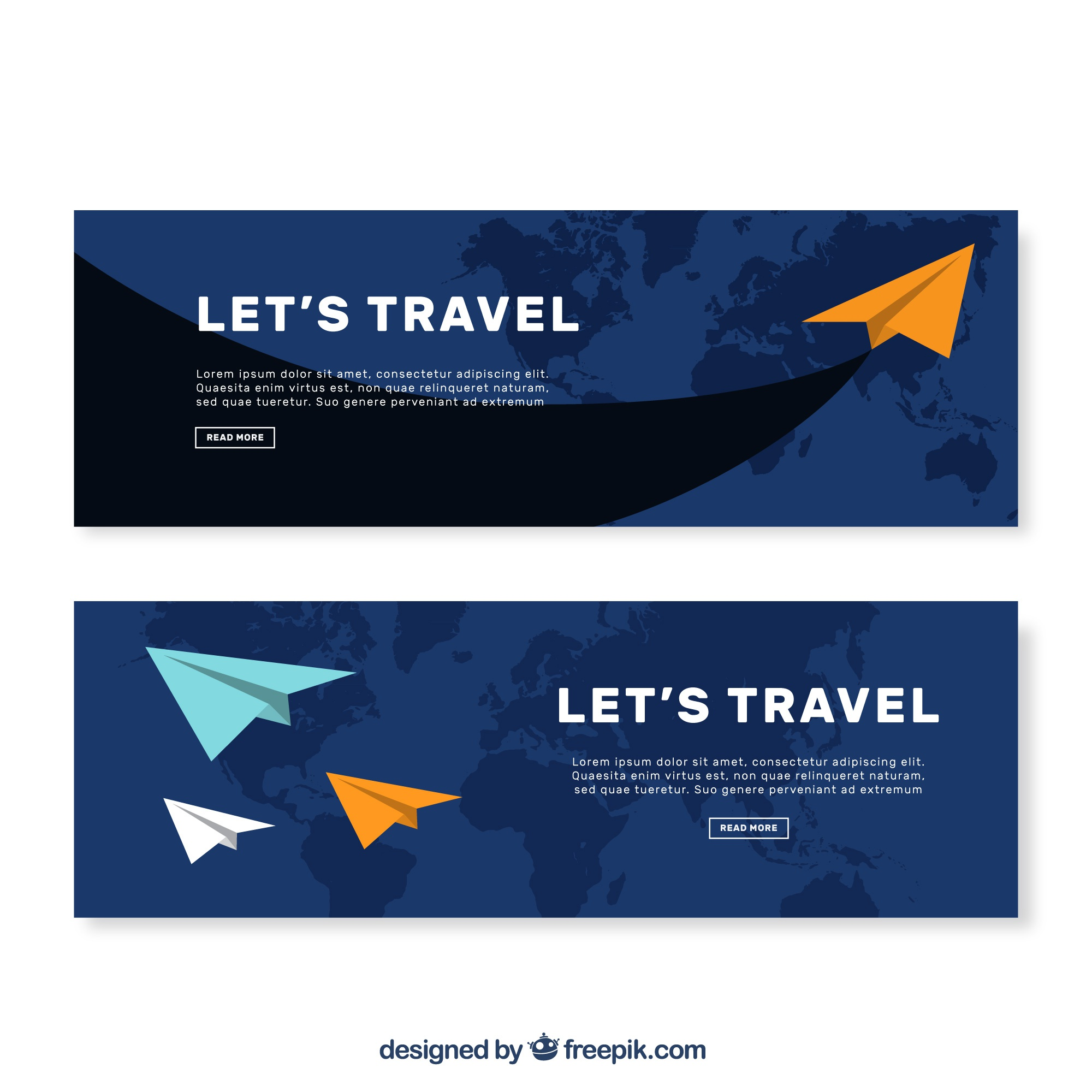 Flat banners with paper planes