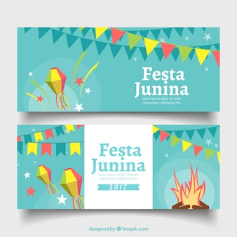 Flat banners with party elements for festa junina