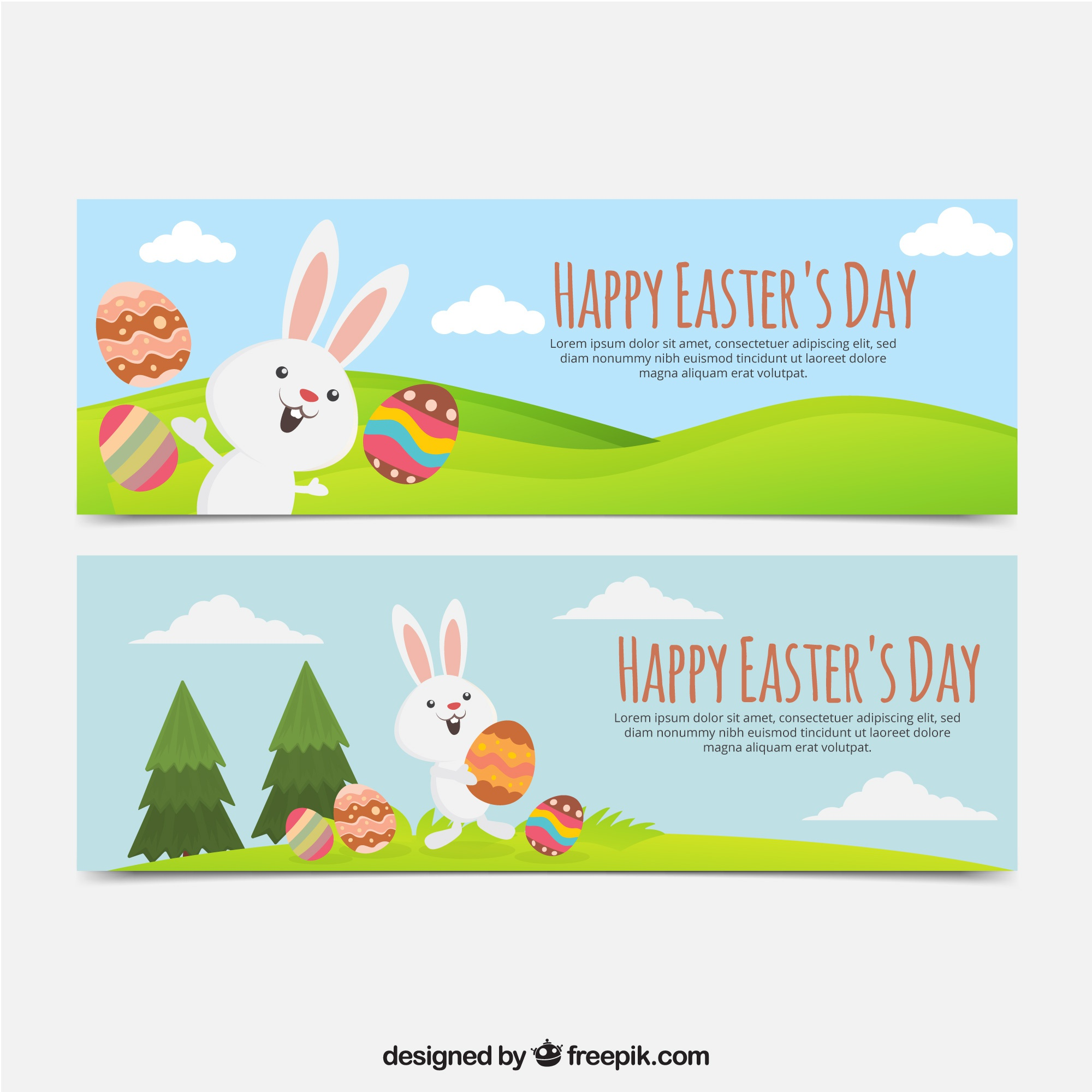 Flat banners with rabbits playing with easter eggs