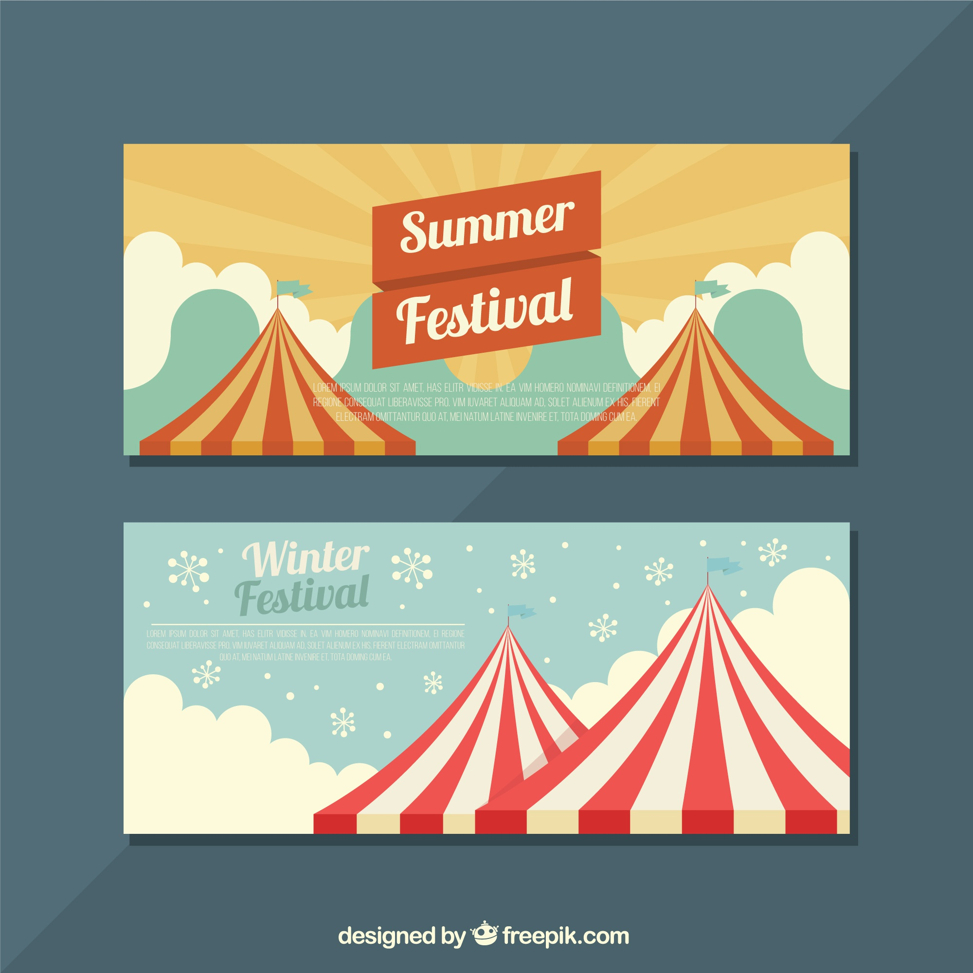 Flat banners with seasonal festivals