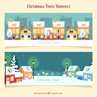 Flat banners with snowy town