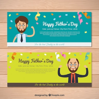 Flat banners with streamer for father's day