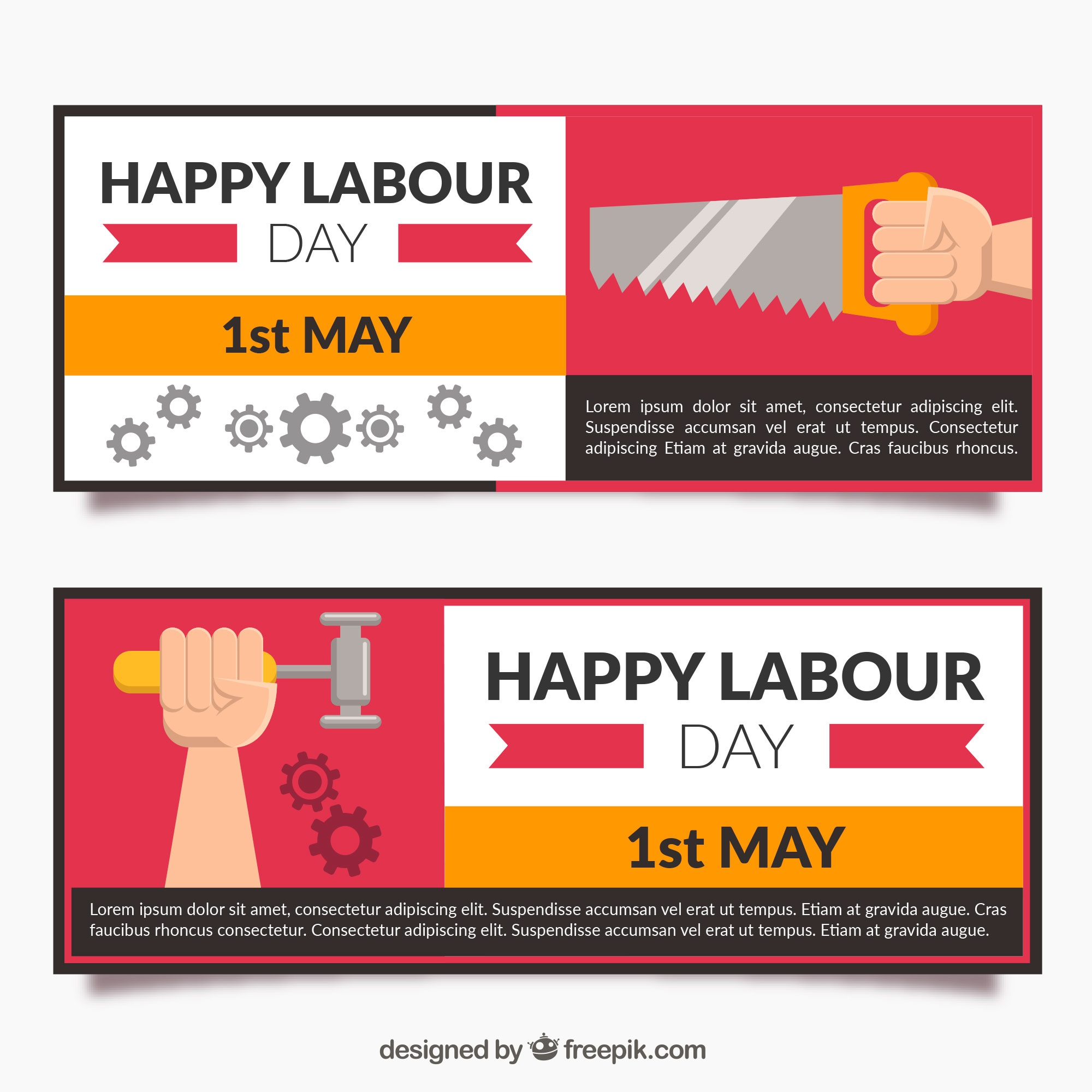 Flat banners with tools for worker's day