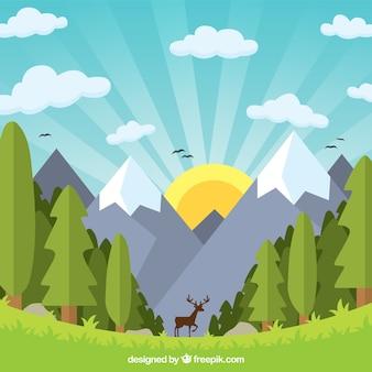 Плоский красивый горный пейзаж с оленем