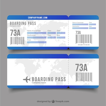Flat boarding pass with decorative world map