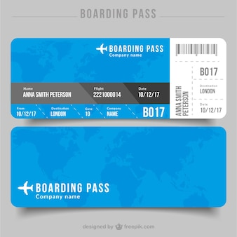 Flat boarding pass with details in gray tones