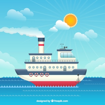 Flat Boat Illustration