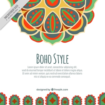 Flat boho background with floral ornaments