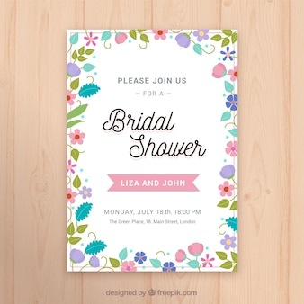 Flat bridal shower invitation template with colored flowers