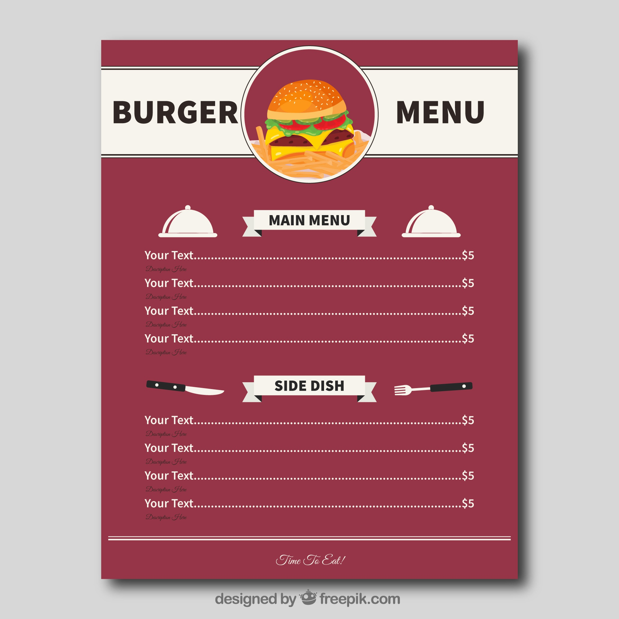 Flat burger menu template