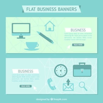 Flat business banners in soft tones