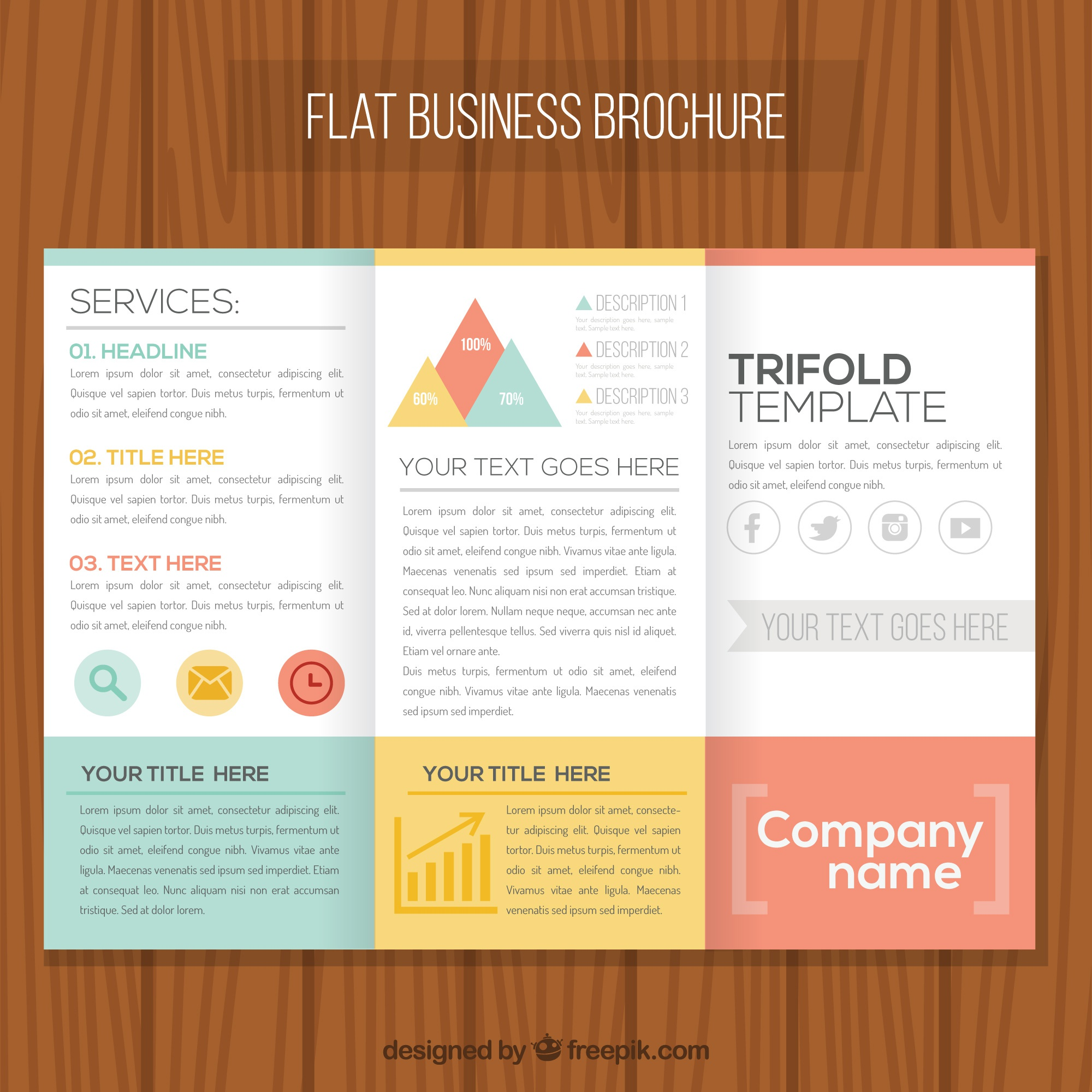 Flat business brochure with colored shapes
