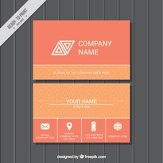 オレンジ色のトーンでのフラット・ビジネス・カード