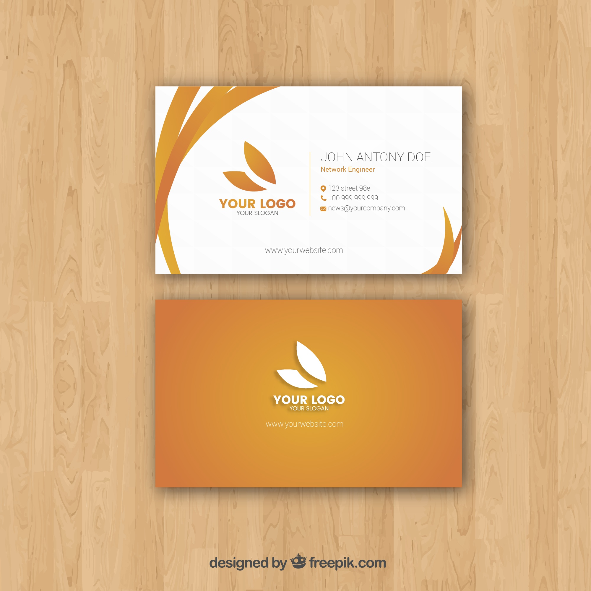 Flat business card with elegant style