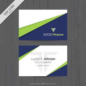 Flat business card with green shapes