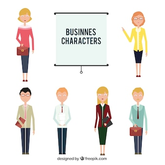 Flat Business Characters Set